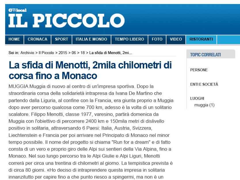 La-sfida-di-Menotti,-2mila-chilometri-di-corsa-fino-a-Monaco---Il-Piccolo